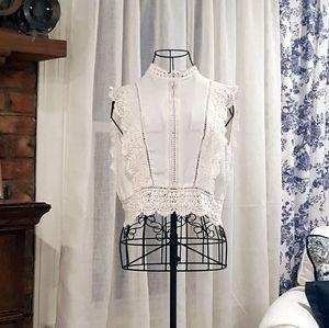Cropped Crochet Trim Sleeveless Button Back Blouse